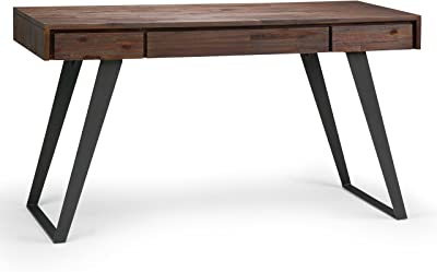 SIMPLIHOME Lowry Desk, 54 inch, Distressed Charcoal Brown