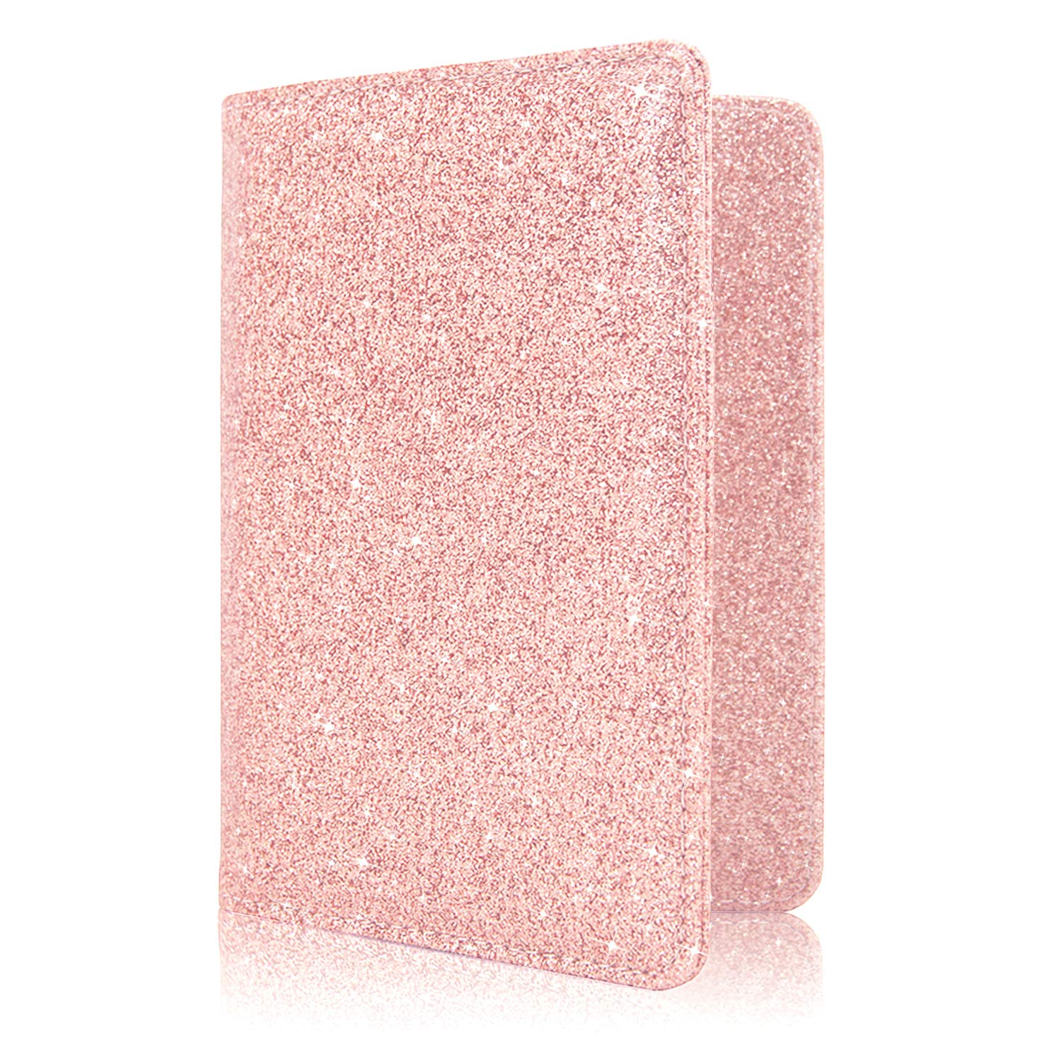 Nice Pink Christmas Leather Passport Holder Cover Case Blocking Travel Wallet