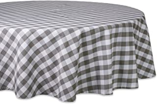 """DII 70"""" Round Cotton Tablecloth, Grey & White Check - Perfect for Fall, Thanksgiving, Farmhouse Décor, Dinner Parties, Chr..."""