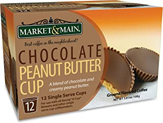Market & Main OneCup, Chocolate Peanut Butter Cup, Compatible with Keurig K-cup Brewers, 12 Count