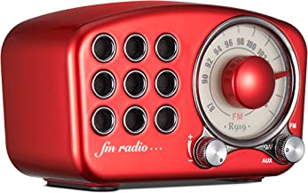 Portable Vintage Wireless Stereo Speaker,1920s Retro FM Radio, with Old Fashioned Classic Style, Strong Bass Enhancement, Loud Volume, Supports Bluetooth 4.2 Connection AUX TF Card MP3 Player Red