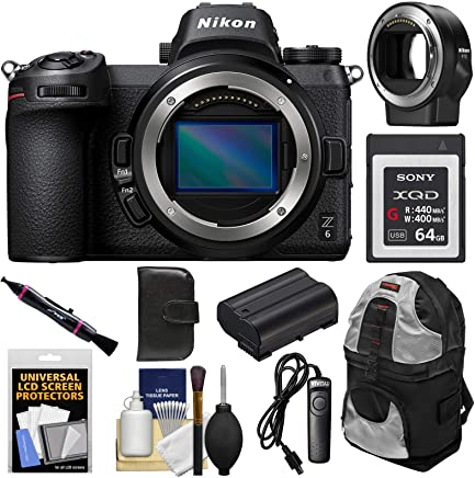 $1949 Get Nikon Z6 Mirrorless Digital Camera Body with Mount Adapter FTZ + 64GB Card + Backpack + Battery + Kit