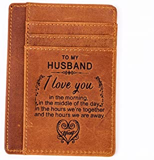 Engraved Leather Front Pocket Wallet | Minimalist Card Holder Valentine Birthday Gift for Him (To Husband)