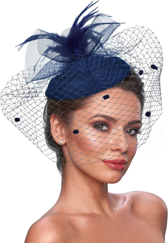 Fascinator Hats for Women Tea Party Hat Feather Veil Fascinator Church Hats Vintage 1920s Headpiece