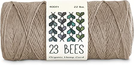 23 Bees 100% Organic Hemp String, Twine, Cord | Jewelry Making, Beading, Macrame, Crafts (400ft x 22 lb.)