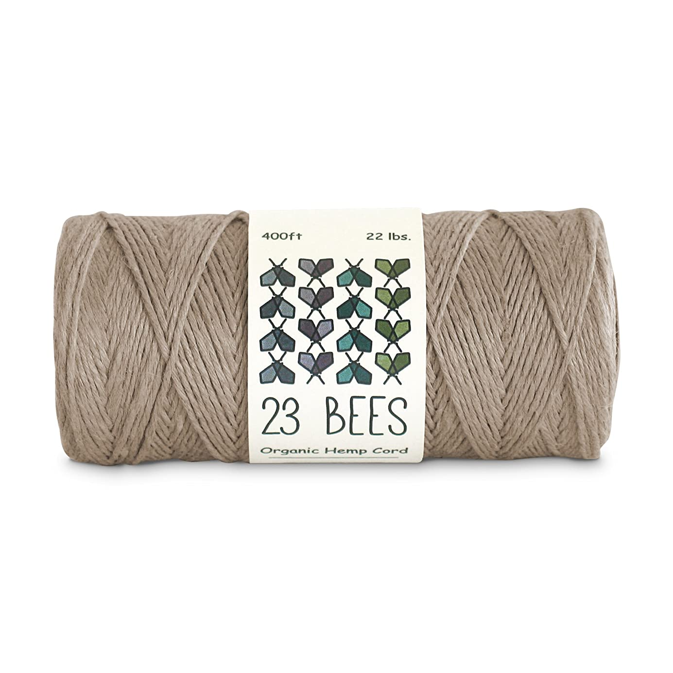 100% Organic Hemp String, Twine, Cord | Jewelry Making, Beading, Macrame, Crafts | 23 Bees (400ft x 22 lb.) owcvde1332