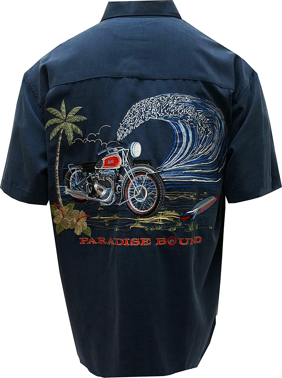 Bamboo Cay Mens Short Sleeve Paradise Bound Casual Embroidered Woven Shirt