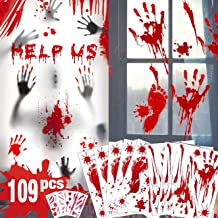 Bloody Handprint Footprint Halloween Decorations - 109 PCS Halloween Window Clings, 8 Sheets Bloody Wall Decal Floor Cling...