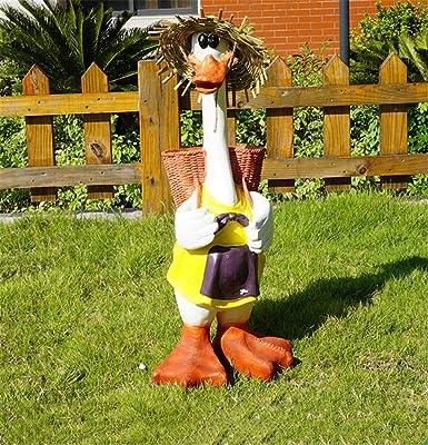 Aya611 Jardín Al Aire Libre Jardín Animal Decoración Creativa, Jardinería Jardín Resina Pato Decoración 33 * 34 * 73Cm Duckinbasket: Amazon.es: Jardín