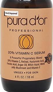 Pura D'Or (4oz) 20% Vitamin C Serum for Face & Eyes With Hyaluronic Acid, Vitamin E & Argan Oil, Treatment for Dark Spots, Acne, Wrinkles, Men & Women (Large 4oz Value Size)
