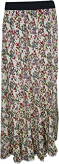 Mogul Interior Womens Peasant Skirts Floral Printed Rayon Summer Flared Gypsy Skirt M/L(White)