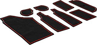 CupHolderHero for Chevy Corvette C7 2014-2019 Custom Liner Accessories - Premium Cup Holder, Center Console, and Door Pocket Inserts 8-pc Set (Red Trim)