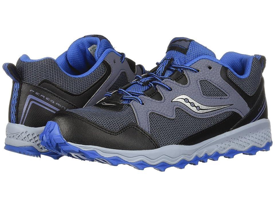 Saucony Kids Peregrine Shield 2 (Little Kid/Big Kid) (Grey/Black/Blue) Boys Shoes
