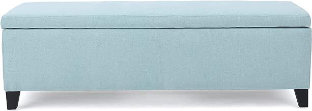 Christopher Knight Home Living Clor Light Blue Fabric Storage Ottoman