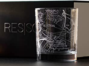 RESSCU Boston Map, Rocks Glasses Set of 2, Unique Gifts, City Streets Etched Glasses