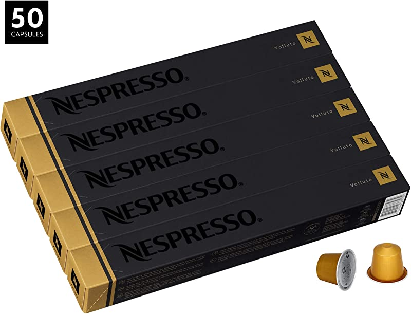 Nespresso Volluto OriginalLine Capsules 50 Count Espresso Pods Light Roast Intensity 4 Blend Brazilian Colombian Arabica Coffee Flavors