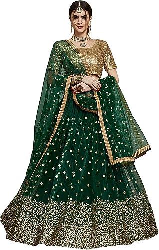 Women s Heavy Net Sequins Lehenga Choli Green Free Size