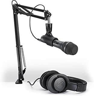 Audio-Technica AT2005USBPK Vocal Microphone Pack for Streaming/Podcasting, Includes USB and XLR Outputs, Adjustable Boom A...