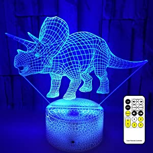 Dinosaur 3D Night Light, 7 Colors Changing Night Lights for Kids with Remote Control & Smart Touch, Perfect Birthday Day Gifts