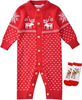 ZOEREA Unisex Newborn Baby Overall Long Sleeve Christmas Sweaters Coat Deer
