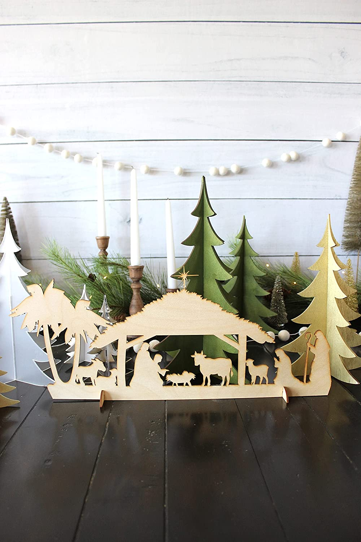 by Unbranded Belén de Navidad // Belén // Belén // Decoración de Navidad // Decoración de Navidad // Cartel de madera rústica