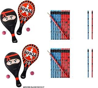 Awesome Ninja Party Favors ~ 12 Ninja Paddleball Games & 24 Ninja Pencils ~ Martial Arts Karate MMA