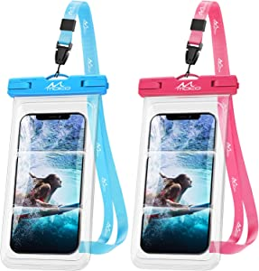 MoKo Waterproof Phone Case 2 Pack, IPX8 Underwater Phone Pouch Dry Bag Compatible with iPhone 12/12 Pro Max/11/11 Pro Max/Xs Max/XR/8/7 Plus, Galaxy S21/S20 Plus/Note 10/9 up to 7.4