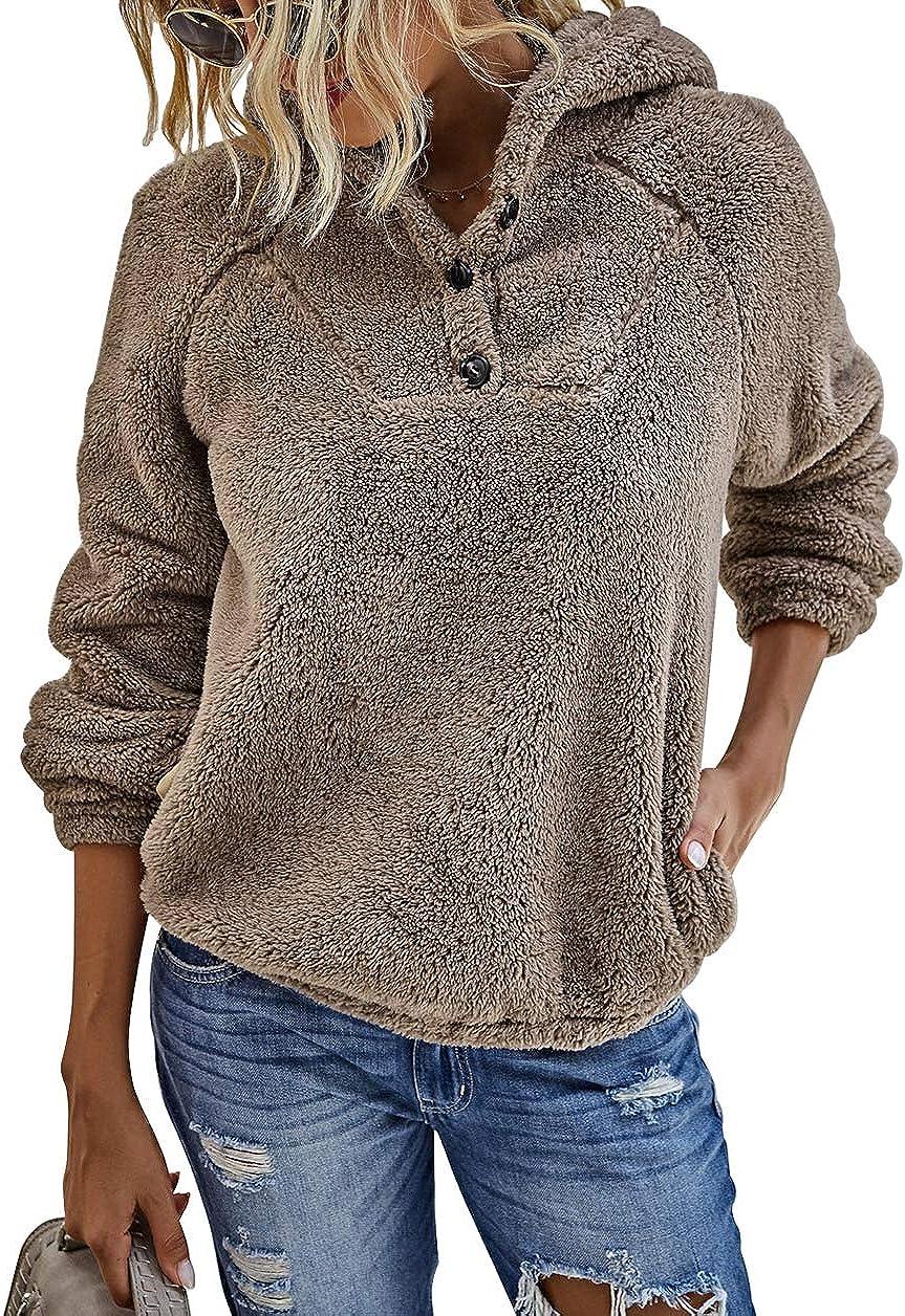 KIRUNDO 2021 Winter Women's Fleece Hoodies Sweatshirts Long Sleeves Shaggy Fuzzy Pullovers Short Tops