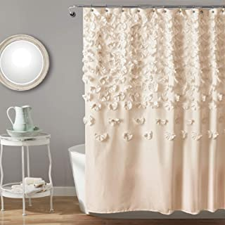 """Lush Decor Lucia Shower Curtain - Fabric, Ruched, Floral, Textured Shabby Chic, Farmhouse Style Design, 72"""" x 72"""", Ivory"""