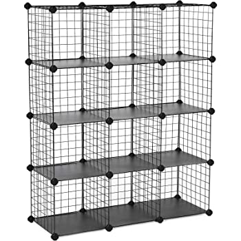 "SONGMICS Metal Wire Cube Storage,12-Cube Shelves Organizer,Stackable Storage Bins, Modular Bookcase, DIY Closet Cabinet Shelf, 36.6""L x 12.2""W x 48.4""H, Black"