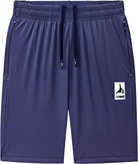 LAIWANG Men's Casual Sports Quick Dry Workout Running or Gym Training Short with Zipper Pockets