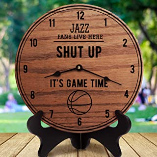 12 Inch Wood Clock, Jazz Fan Shut Up It's Game Time Sports Gifts Gift for Sports Fans Sports Room Decor Sports are On for Men Basketball, Clock Only, Wall Clock