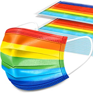 Kids' 50PCS Rainbow Colors Disposable Face Mask 3-Layer Individually Packaged, Unisex Soft Elastic Earloop Fit Nonwoven Fa...