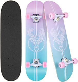 """WeSkate Skateboards for Girls Boys Beginners, 31"""" x 8"""" Complete Standard Skateboard for Teens & Adults, 7 Layer Canadian Maple Double Kick Concave Skate Board, Birthday Gifts for Kids and Friends"""