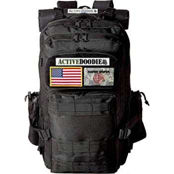 ActiveDoodie Dad Diaper Bag Backpack, Tactical Adventure Gear for Dads, Changing Pad, Stroller Straps, Insulated Bottle Holder, Diaper Bag for Dad, Military Style (Diaper Sniper Velcro Patches, Large)