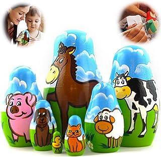 Sponsored Ad - Farm Animals Set 7 pcs Wood Nesting Dolls for Kids - Pet Figurine Set Wooden Matryoshka Stacking Toys Made ...