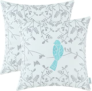 CaliTime Pack of 2 Cotton Throw Pillow Cases Covers for Bed Couch Sofa Cute Bird in Gray Garden Embroidered 18 X 18 Inches Turquoise