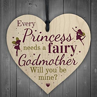 XLD Store Will You Be My Godmother Fairy Wooden Heart Sign Plaque Godparents Family Friendship Gift