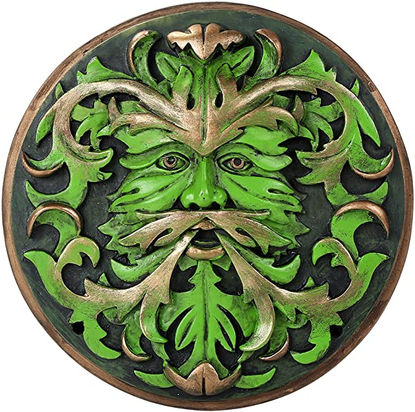 Decorative Green Man Round Wall Plaque Designed By Oberon Zell 5 75 Inches Diameter