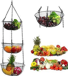Oro Rosa Ciotola da Appendere Supporto in Filo Metallico Resistente Organizzatore da Cucina per Frutta//Verdura//Fiori//Pianti Cesto per Frutta da Appendere LxwSin Portafrutta da Appendere 3 Ripiani
