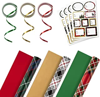 Hallmark Reversible Christmas Wrapping Paper Set with Ribbon and Gift Tag Stickers (Green, Red, Black Plaid; 3 Rolls, 120 ...