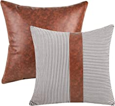 Merrycolor Stripes Faux Leather Pillow Set of 2 Decorative Throw Pillow Covers Cushion Case for Couch Sofa Farmhouse Moder...