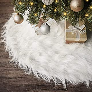 Ivenf Christmas Tree Skirt, 48 inches Large Snow White Luxury Thick Plush Faux Fur Skirt, Rustic Xmas Tree Holiday Decorations