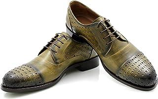 CANNERI Scarpe Stringate Uomo - 9146 - Verde Vintage - Captoe Oxford - Business Classico e Casuale - Scarpa Bassa in Pelle...