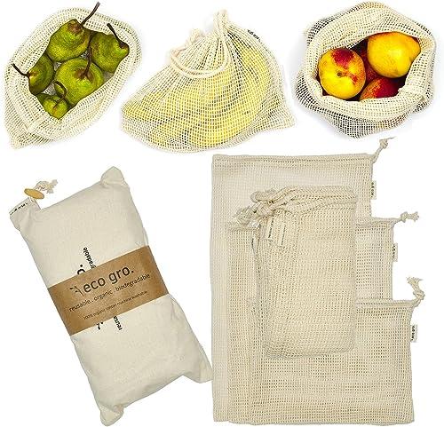 Eco Gro. - Reusable Cotton Mesh Produce Bags - Organic Cotton, Durable, Double Stitched, Washable   7 PCE Set   Austr...
