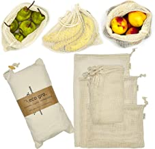 Eco Gro. - Reusable Cotton Mesh Produce Bags - Organic Cotton, Durable, Double Stitched, Washable   7 PCE Set   Australian...