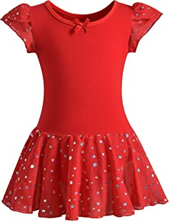 Girls Glitter Leotards for Ballet Dance Dress with Tutu Skirt Petal Sleeve