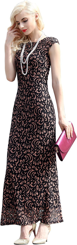 YiYuan Lau Retro One Pace Printed Sleeveless Round Neck Back Slit Summer Maxi Dress