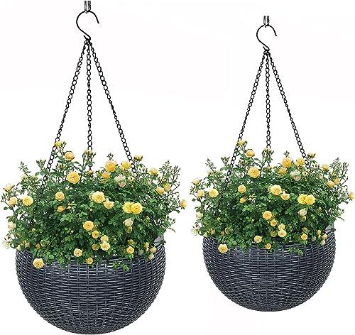 "VIVOSUN Hanging Planters Self Watering Hanging Baskets for Indoor Outdoor Plants Flower Plant Pot Dark Grey, 2 Different Pieces (8.3"" & 10.2"")"