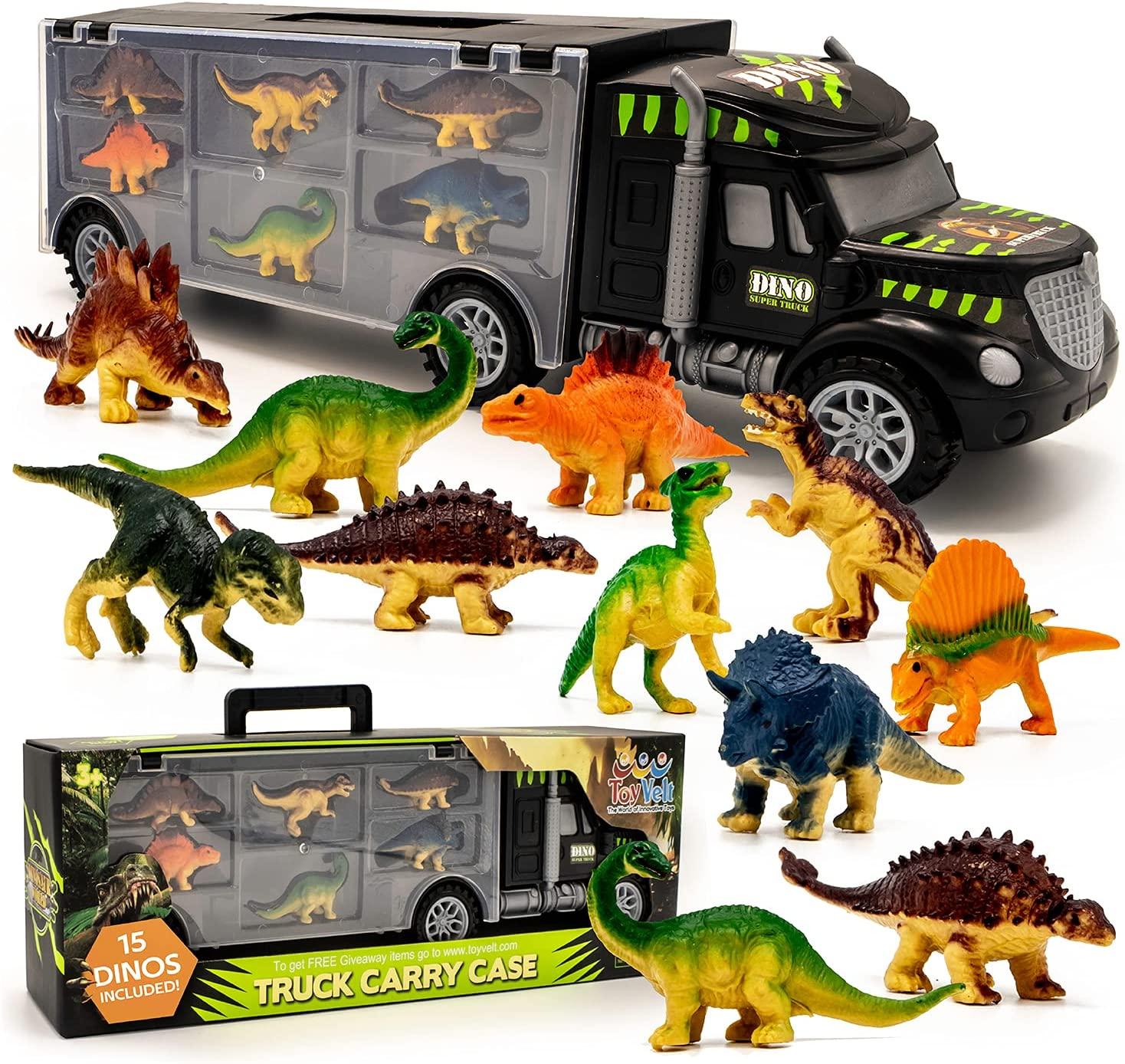 Max 51% OFF Toyvelt 15 Dinosaurs Transport Car Oklahoma City Mall Dinosa Toy With Truck Carrier